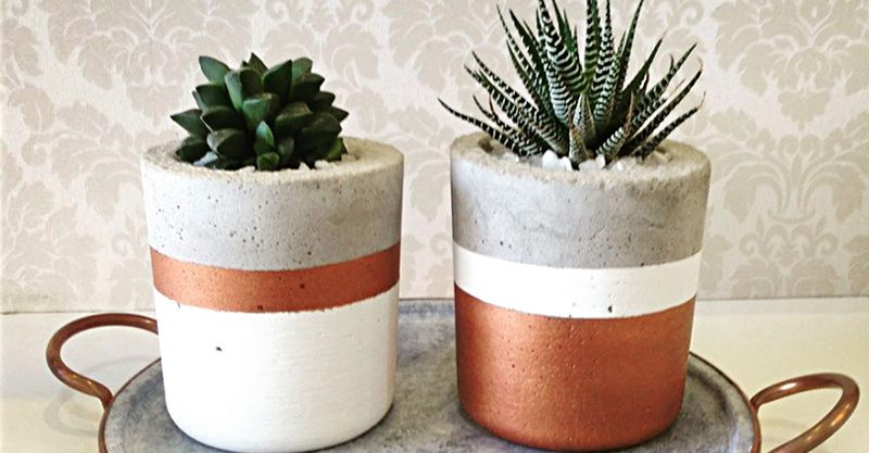 jarrinhos de concreto decorados