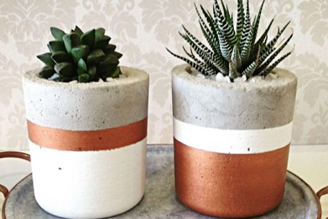 jarrinhos de concreto decorados